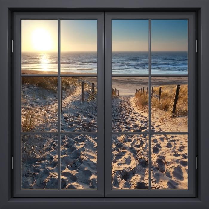 Papier peint vinyle Fenêtre Noire Fermée - La Mer Du Nord - La vue à travers la fenêtre