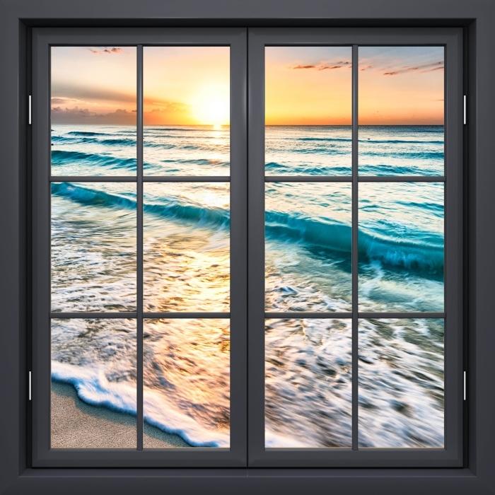 Vinyl-Fototapete Schwarz Fenster geschlossen - Sonnenaufgang am Strand - Blick durch das Fenster