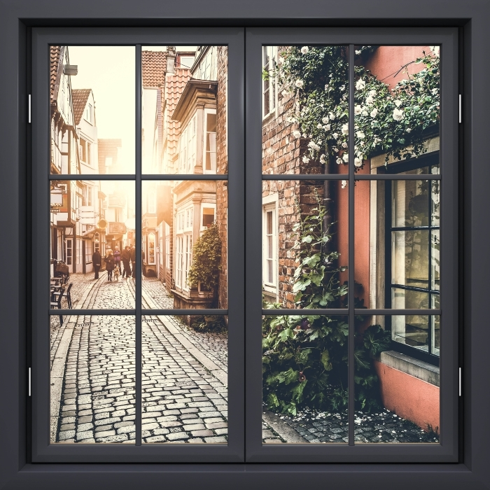 Black closed window - Old streets Vinyl Wall Mural - View through the window