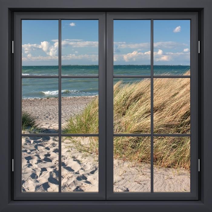 Papier peint vinyle Fenêtre Noire Fermée - Mer - La vue à travers la fenêtre