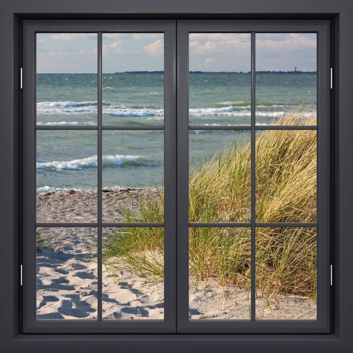 Vinyl-Fototapete Schwarz-Fenster geschlossen - Strand - Blick durch das Fenster