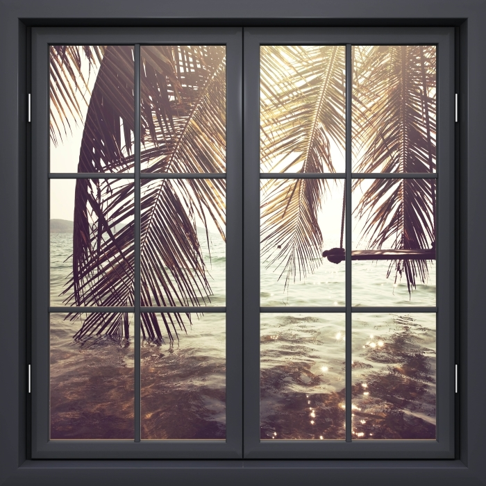 Fototapeta winylowa Okno czarne zamknięte - Tropikalna plaża - Widok przez okno