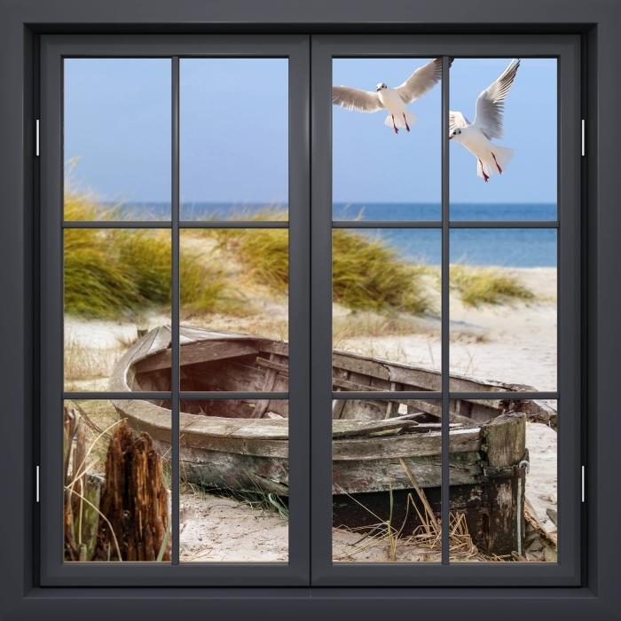 Vinyl Fotobehang Black Venster gesloten - Strand aan zee - Uitzicht door het raam