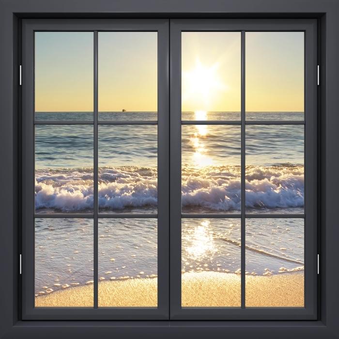Papier peint vinyle Fenêtre Noire Fermée - Mer D'Été - La vue à travers la fenêtre