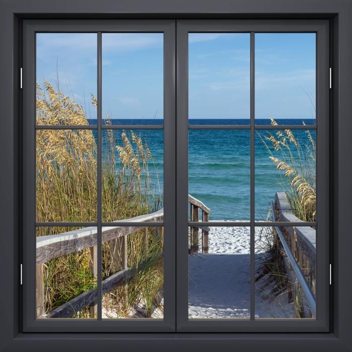 Fototapeta winylowa Okno czarne zamknięte - Wydmy - Widok przez okno
