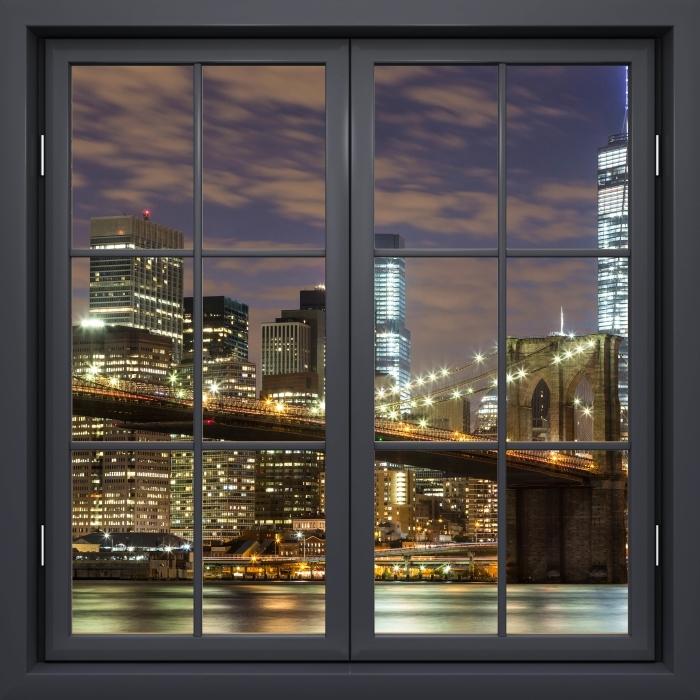 Papier peint vinyle Fenêtre Noire Fermée - Pont De Brooklyn - La vue à travers la fenêtre