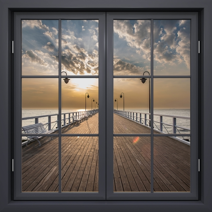 Papier peint vinyle Fenêtre Noire Fermée - Lever De Soleil À La Jetée - La vue à travers la fenêtre