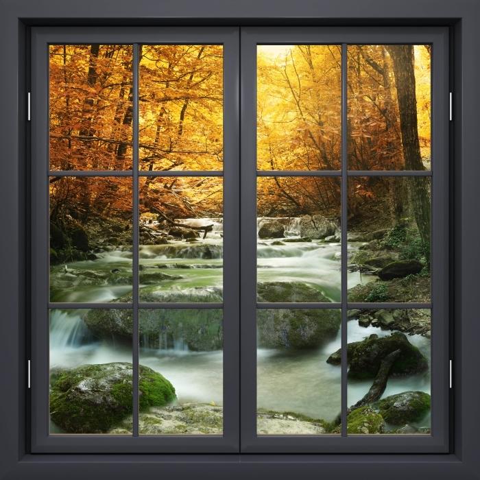Papier peint vinyle Fenêtre Noire Fermée - Forêt Et Cascade - La vue à travers la fenêtre