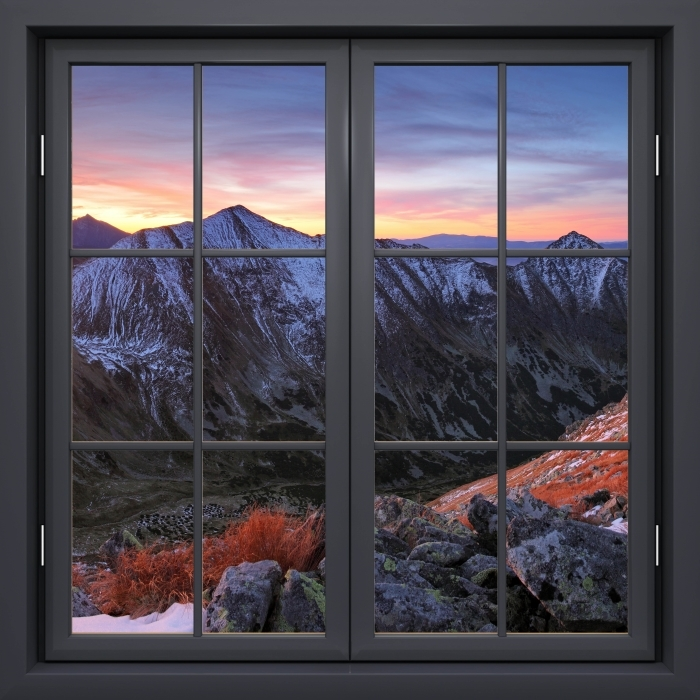 Papier peint vinyle Fenêtre Noire Fermée - Tatry - La vue à travers la fenêtre