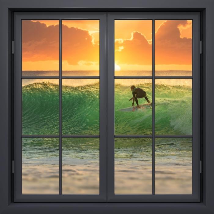 Papier peint vinyle Fenêtre Noire Fermée - Surf - La vue à travers la fenêtre
