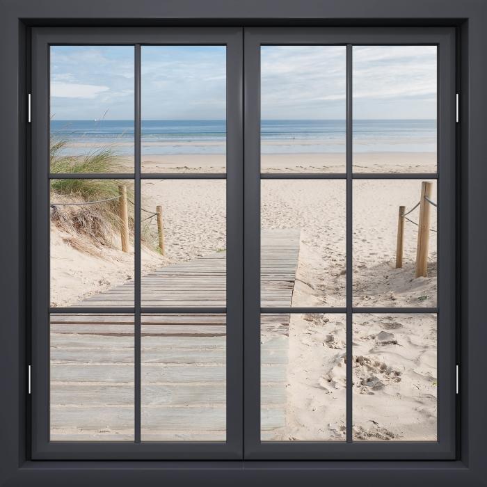 Fototapeta winylowa Okno czarne zamknięte - Plaża i morze - Widok przez okno
