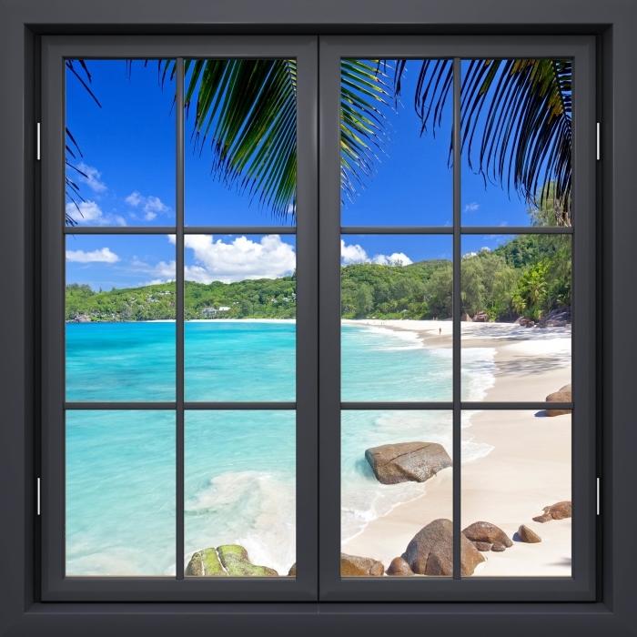 Vinyl-Fototapete Schwarz Fenster geschlossen - Tropical - Blick durch das Fenster