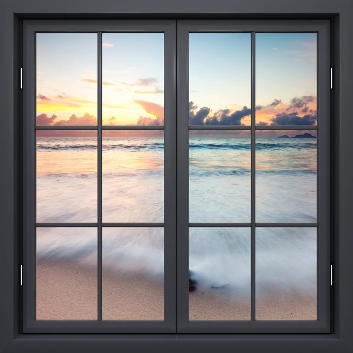 Papier peint vinyle Fenêtre Noire Fermée - Plage - La vue à travers la fenêtre