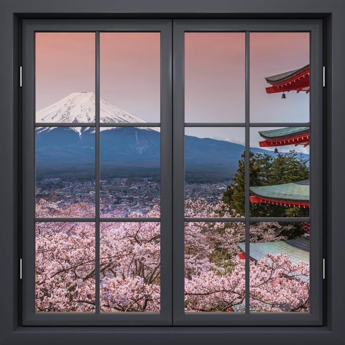 Papier peint vinyle Fenêtre Noire Fermée - Fuji - La vue à travers la fenêtre
