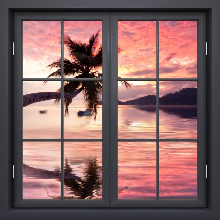 Papier peint vinyle Noir Fermé La Fenêtre - La Mer - La vue à travers la fenêtre