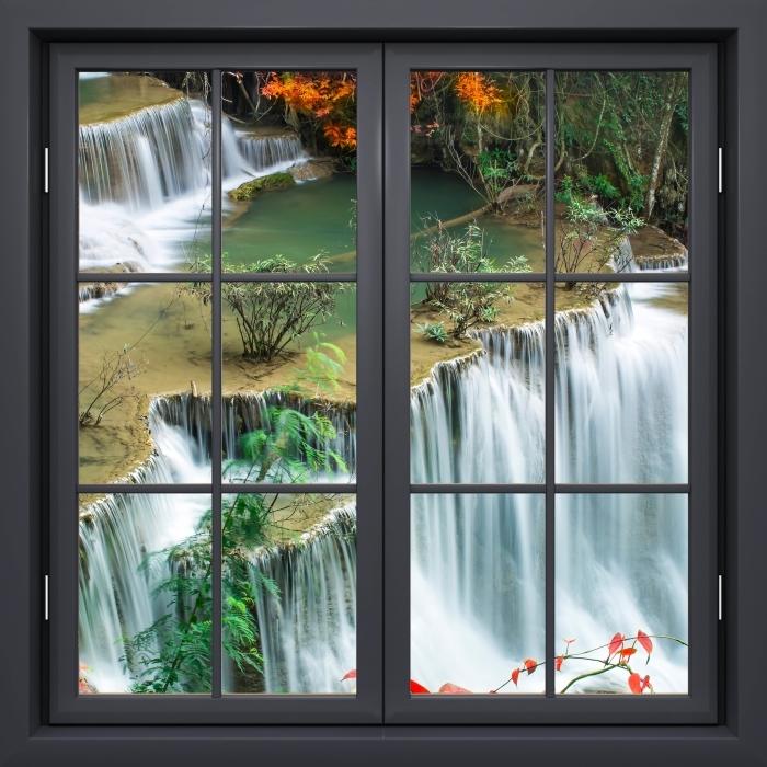 Vinyl-Fototapete Schwarz Fenster geschlossen - Wasserfall im tropischen Wald - Blick durch das Fenster