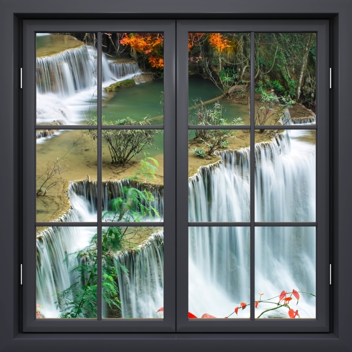 Black window closed - Waterfall in the tropical forest Vinyl Wall Mural - View through the window