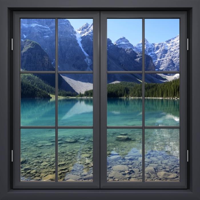 Vinyl-Fototapete Schwarz geschlossen Fenster - Sommermorgen - Blick durch das Fenster