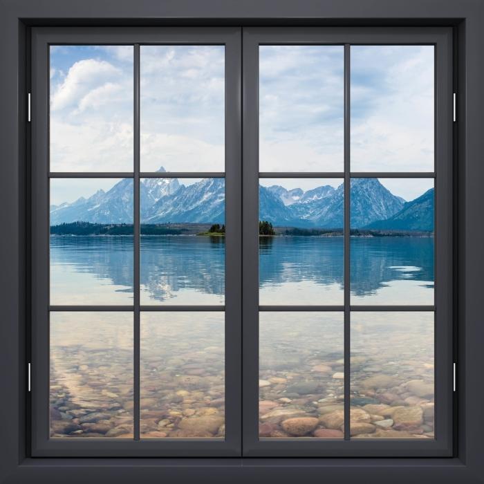 Papier peint vinyle Fenêtre Noire Fermée - Parc National De Grand Teton - La vue à travers la fenêtre