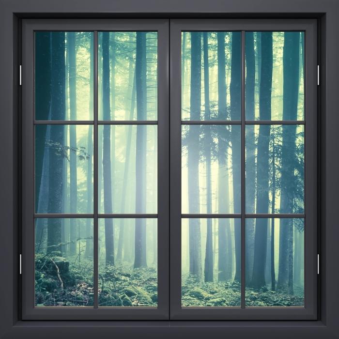 Fototapeta winylowa Okno czarne zamknięte - mglisty krajobraz. Słowenia. - Widok przez okno