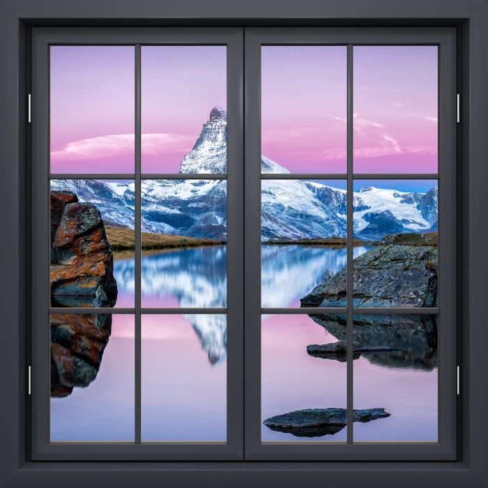 Black closed window - the lake and the mountains Vinyl Wall Mural - View through the window