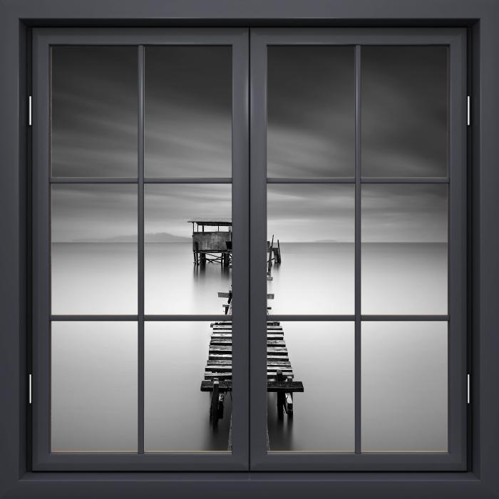 Vinyl Fotobehang Black raam gesloten - een houten pier - Uitzicht door het raam