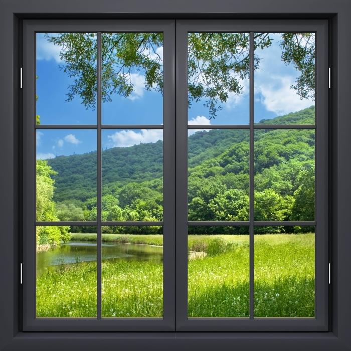 Papier peint vinyle Fenêtre Noire Fermée - Rivière - La vue à travers la fenêtre