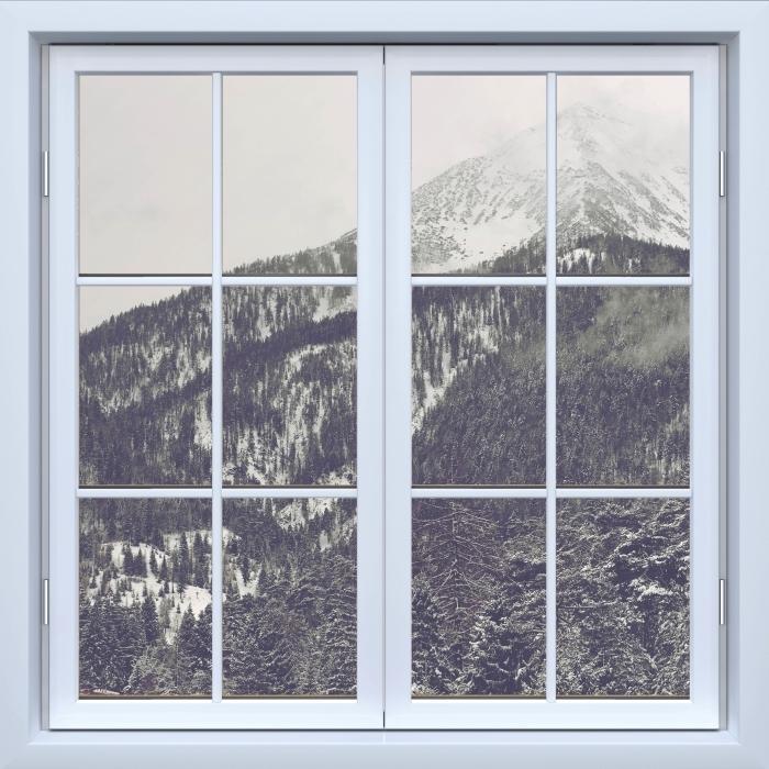 Fototapeta winylowa Okno białe zamknięte - Chmury - Widok przez okno