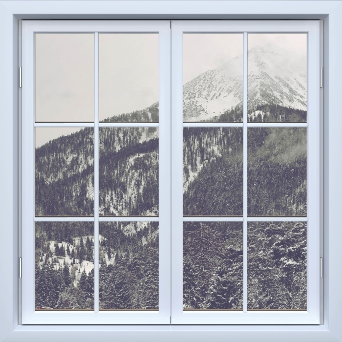 White closed window - Clouds Vinyl Wall Mural - View through the window