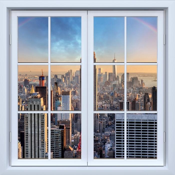 Vinyl Fotobehang White closed window - New York - Uitzicht door het raam