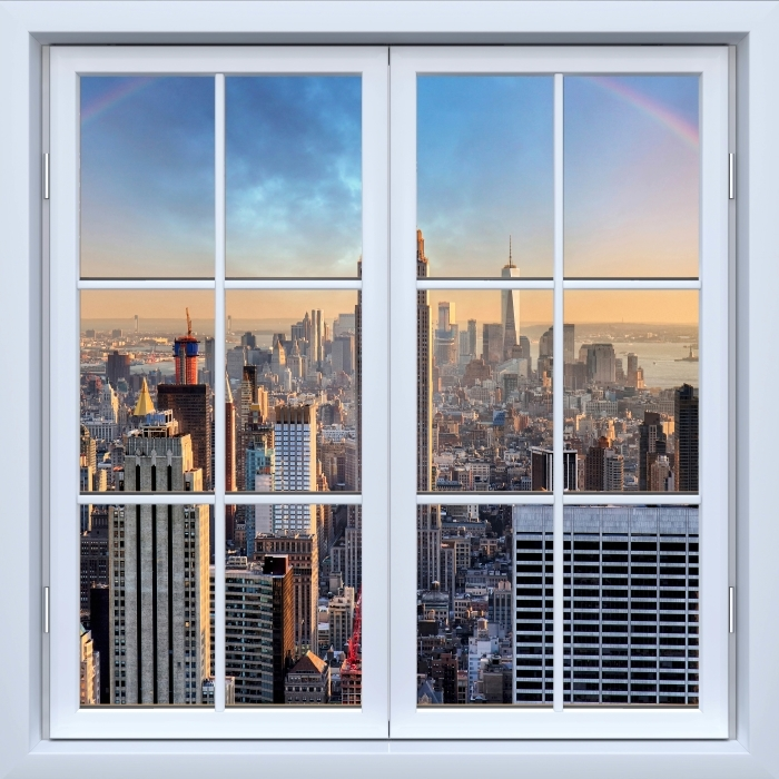 White closed window - New York Vinyl Wall Mural - View through the window