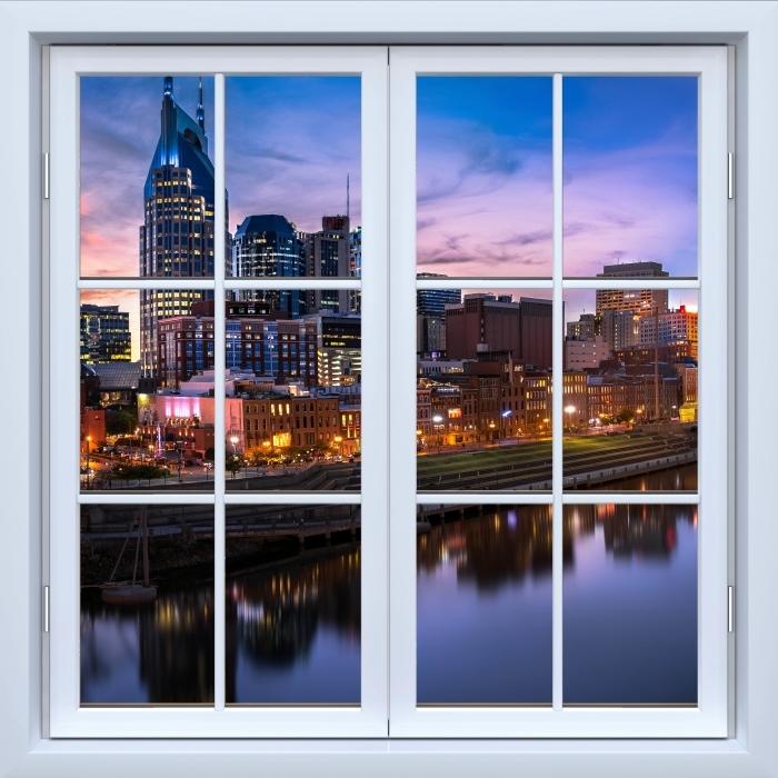 Vinyl Fotobehang White closed window - Nashville Skyline - Uitzicht door het raam