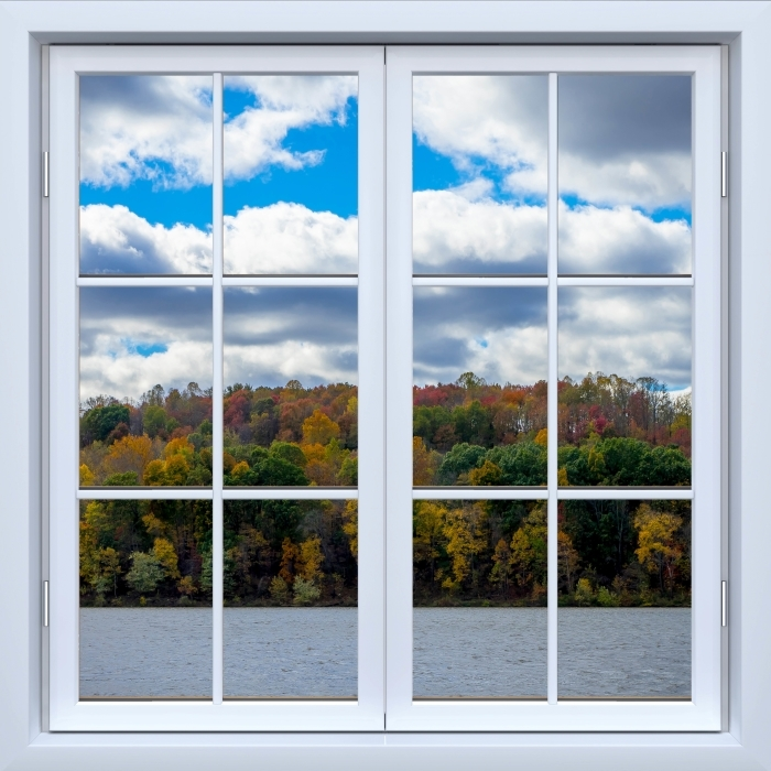 Papier peint vinyle Blanc fenêtre fermée - Automne - La vue à travers la fenêtre