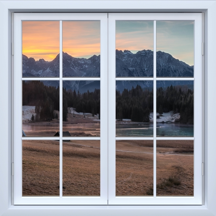 Fototapeta winylowa Okno białe zamknięte - Bawaria - Widok przez okno