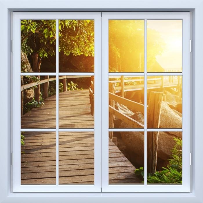 Vinyl-Fototapete Weiß Fenster geschlossen - Thailand - Blick durch das Fenster