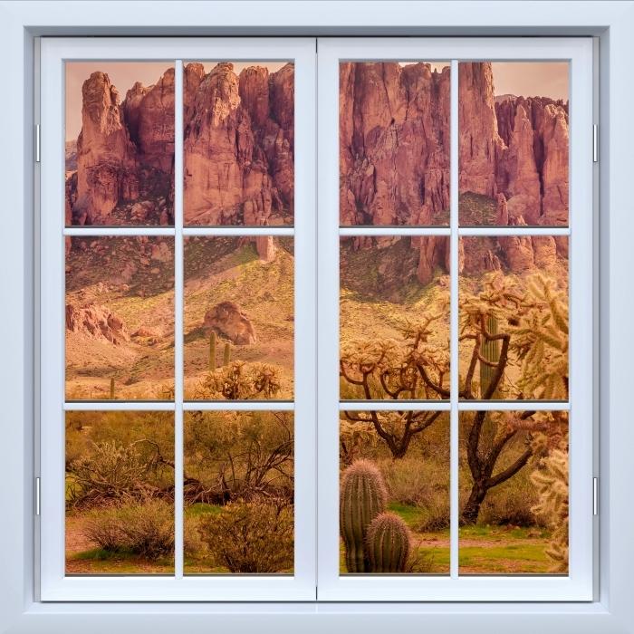 Papier peint vinyle Blanc fenêtre fermée - Arizona - La vue à travers la fenêtre