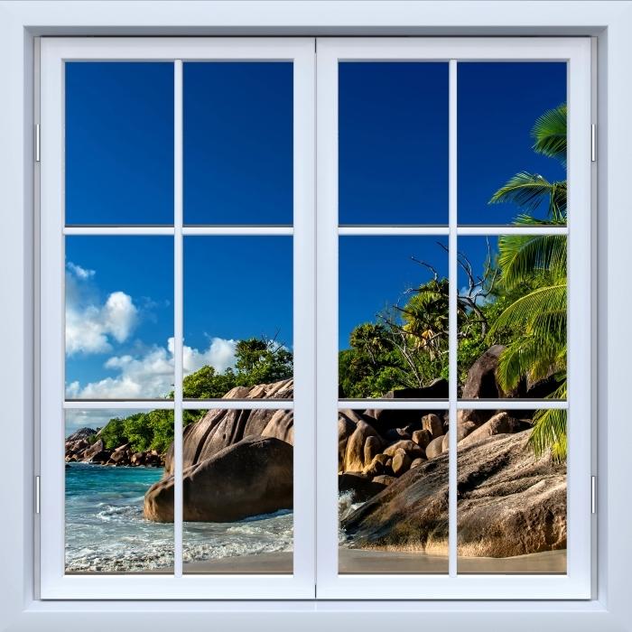 Papier peint vinyle Blanc fenêtre fermée - Tropical - La vue à travers la fenêtre