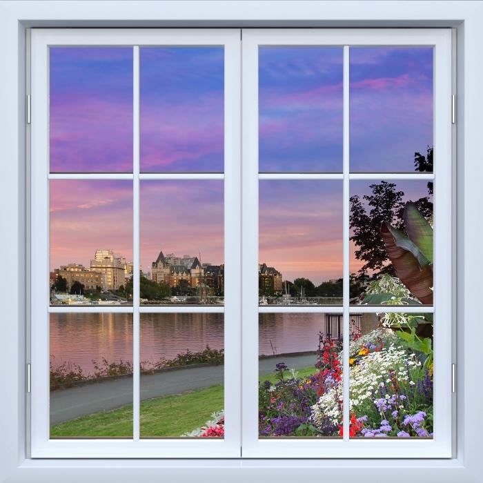 Fototapeta winylowa Okno białe zamknięte - Widok na rzekę. - Widok przez okno
