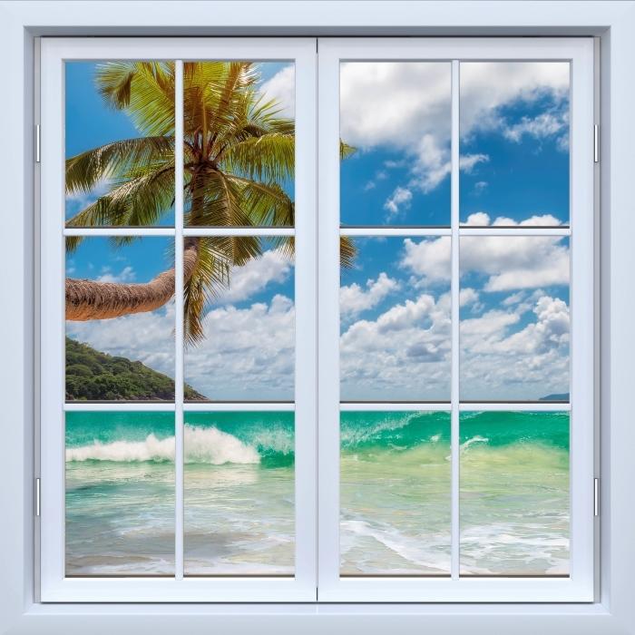 Fototapeta winylowa Okno białe zamknięte - Raj na plaży - Widok przez okno