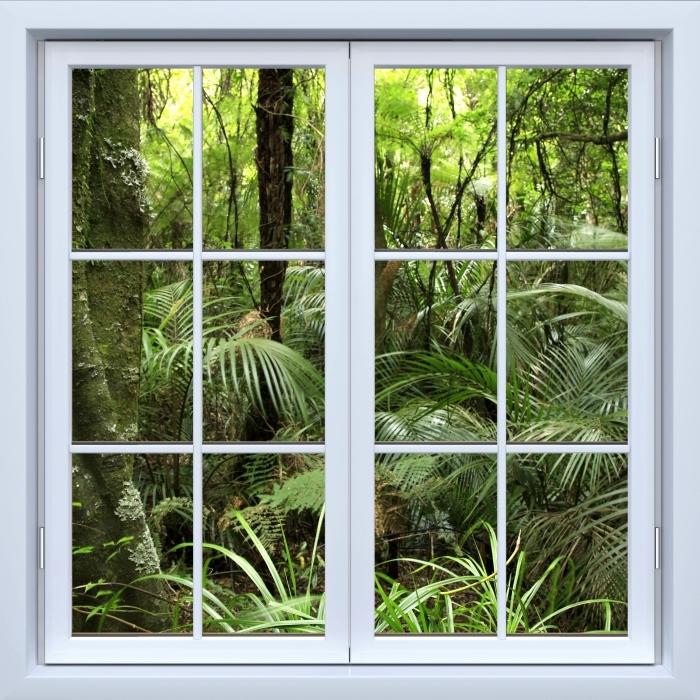 Fototapeta winylowa Okno białe zamknięte - Tropikalny las - Widok przez okno
