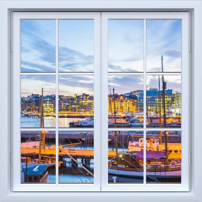 Papier peint vinyle Blanc fenêtre fermée - Oslo - La vue à travers la fenêtre