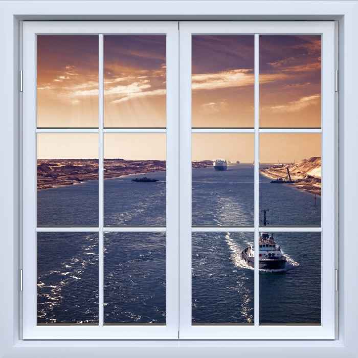 White closed window - Along the river Vinyl Wall Mural - View through the window