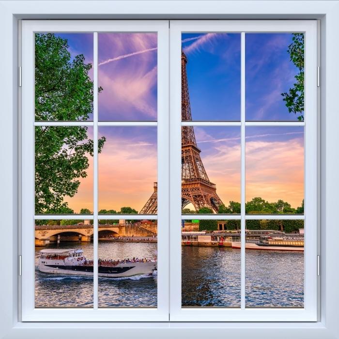 Fototapeta winylowa Okno białe zamknięte - Paryż i Wieża Eiffla - Widok przez okno