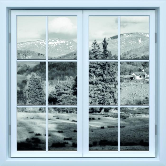 Carta da Parati in Vinile Bianco finestra chiusa - Distretto dei Laghi - Vista attraverso la finestra