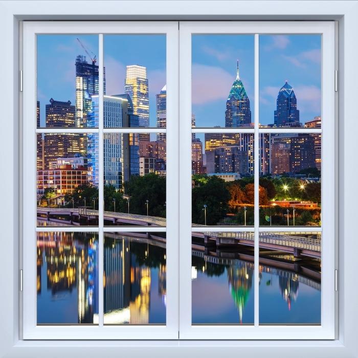 Vinyl-Fototapete Weiß geschlossen Fenster - Philadelphia in der Nacht - Blick durch das Fenster