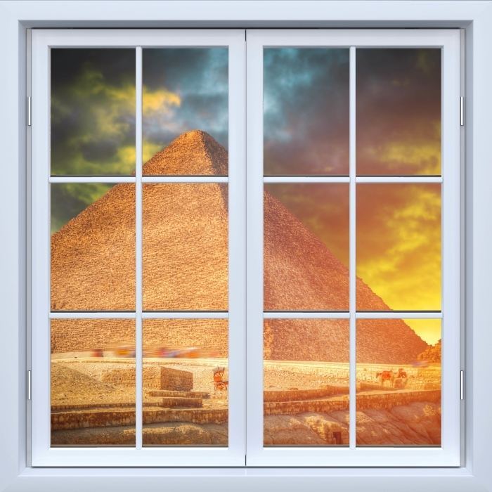 Papier peint vinyle Blanc fenêtre fermée - Pyramides de Gizeh - La vue à travers la fenêtre