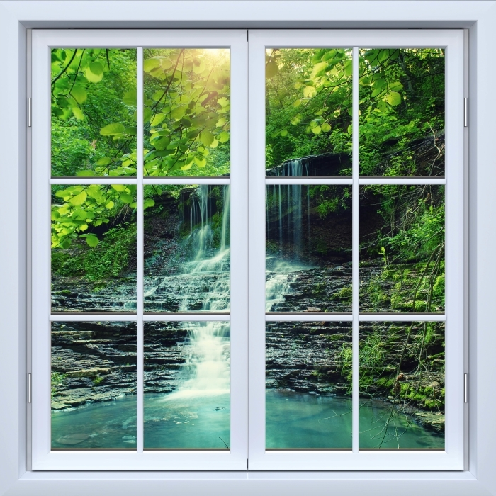 Vinyl Fotobehang White closed window - Waterval - Uitzicht door het raam