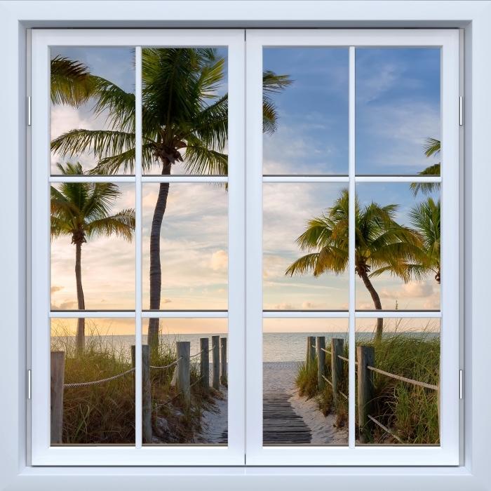 Papier peint vinyle Blanc fenêtre fermée - Panorama - La vue à travers la fenêtre