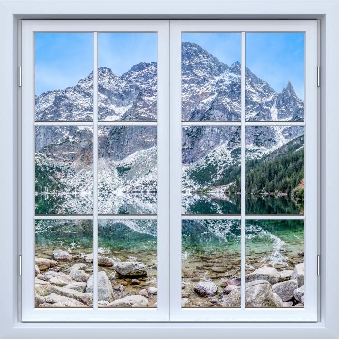 Fototapeta winylowa Okno białe zamknięte - Morskie Oko - Widok przez okno
