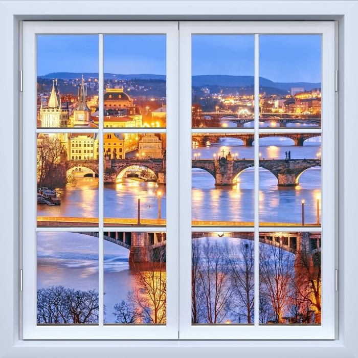 White closed window - Prague Vinyl Wall Mural - View through the window